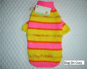 Colorful Dog Sweater, Hand Knit Pet Sweater, Full Length,  Size SMALL, Dazzle Bright Pink