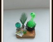 dollhouse miniature Frog Spell tray Potion Witch ooak Glows in Dark Can be custom made too