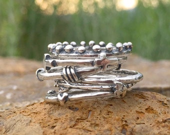 Stackable Rings. Stack Rings in Silver.  Stacking Ring. Design your own silver stackable ring set.