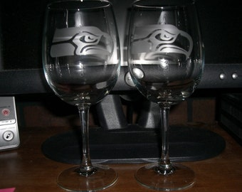 Set Of 2 Seattle Seahawks NFL Wine Glasses