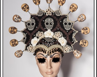 Crowned in Death… Headdress with Sugar Skulls and Flowers, Beads, Coins, Rhinestones and Amulets