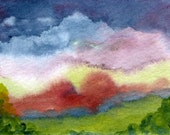 Original Watercolor ACEO Art Card, Mountain Vista, Hazy, Red Foliage, Dark sky