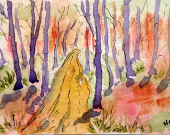 Original Watercolor ACEO Art Card, Forest Path, Bright Colorful, Forest