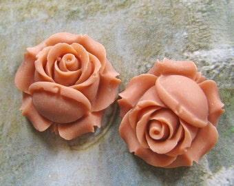 26mm Sweet Pale Peach rose cabochon - 4 pcs (CA818-C4)