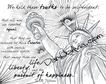 Coloring page - The Declaration of Independence, celebrate the 4th of July with Thomas Jefferson, the US flag & the Statue of Liberty