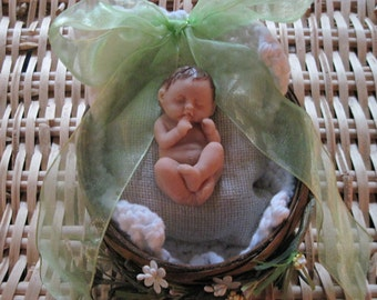 OOAK Polymer Clay Baby with Brown Hair and Basket Bed