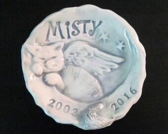 Memorial Cat or Kitty Memory Bowl Trinket Dish