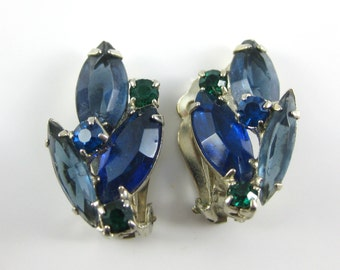 Vintage Blue and Green Rhinestone Costume Clip on Earrings