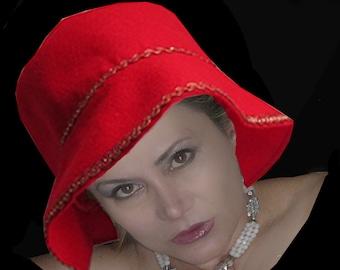 Handmade Felt Red Hat