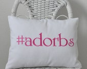 adorbs Lumbar Pillow Insert Included Embroidered Novelty pillow Girls Bedding Teen Bedding 12x16 inches