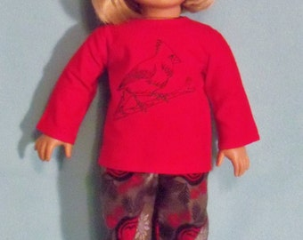 18 inch Doll Flannel Cardinal Bird Pajamas