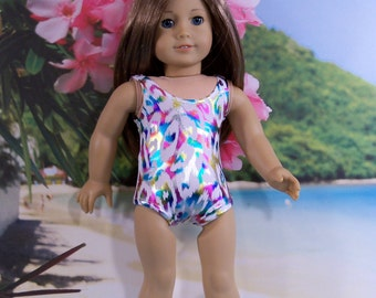 18 Inch Doll Swimsuit Multi Color Metalliic Print in Stretch Lycra