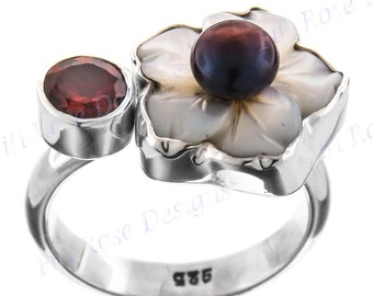 Red Garnet Mother Of Pearl Flower Biwa 925 Sterling Silver Sz 7.5 Ring