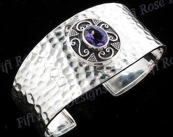 Stunning Amethyst 925 Sterling Silver Cuff Bracelet