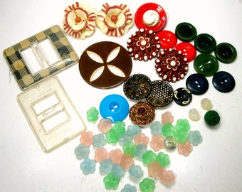 Lot of 57 Vintage Buttons, and 2 Buckles, What You See is What You Get 1940s to 1960s