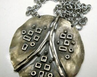 Modernist Silver Amulet  on Shinier Silvertone Metal Chain, Geometric but Tribal Necklace, 1960s Mid Century  Art Deco Brutalist Space Race