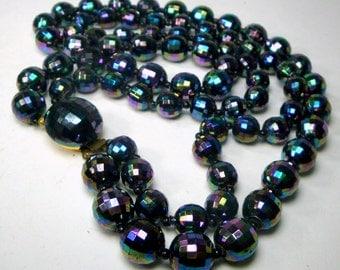 Mad Men Black Aurora Rainbow 2 Strand Necklace, Exciting Austrian Metallic Purple, Midnight Blue n Black Faceted  Beads, 1950s