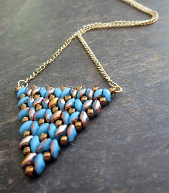 Triangle Necklace  Blue and Brass  Necklace Turquoise  Geometric Pendant Large Triangle Pendant - Brass  Jewelry