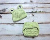 Newborn to Three Month Old Baby Crochet Frog Hat and Diaper Cover Set Green