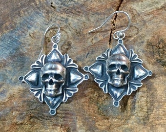 E282 Sterling Silver Skull over Four Corners Cross Earrings Repoussé Southwestern Native Santa Fe Style
