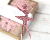 Ballerina Princess Cupcake Toppers - Set of 12 - Pink Glitter