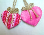 Pink Heart Ornaments | Home Decor | Party Favor | Wedding Bridal |  Holidays | Tree Ornament | Valentines Day | Handmade USA, Set/2, #3