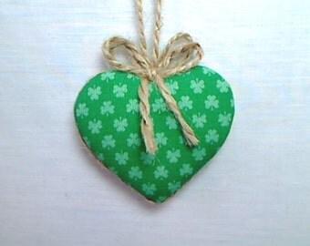 Green Heart Ornament   St Patrick's Day   Spring Decor   Party favor   Irish Decor   Tree Ornament   Handmade   Holidays   Heart Ornament #3