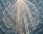 Light Ivory 23 Inch Long First Communion Veil Organza Flowers on Clip Barrette Narrow Ivory Satin Cord Edge  31592