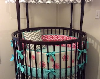 Round Crib Bedding Set in Aqua Pink and Gray Ready to Ship