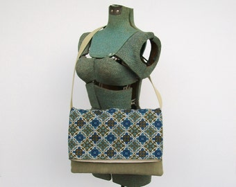 Green and Blue Messenger Bag, Blue Purse, Faux Suede Purse, Foldover Messenger Bag, Shoulder Bag, Crossbody Bag, Tan, Medium