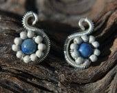 Lapis Stardust Swan Earrings