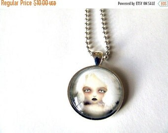 SUMMER SALES EVENT Mania Real Glass Art Necklace 1 inch Sized with Organza Bag Made From Original Art Print