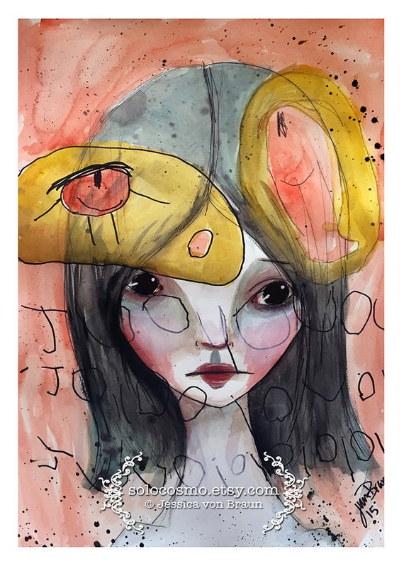 """5x7 Premium Art Print """"Juneau Dreams"""" Small Size Giclee Print - Mother and Daughter art collaboration - Mommy and me art print - pink yellow"""