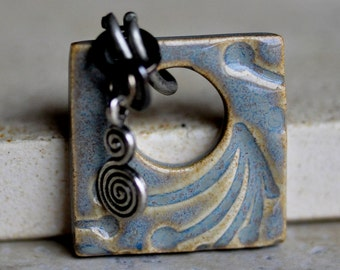 Abstract Ceramic Pendant in Porpoise Grey & Amber Cream glazes, square ceramic jewelry in porcelain clay, handcarved design by Artgirl56