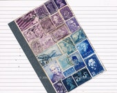 Postage Stamp Travel Journal | Lined A6 Traveler's Notebook | Recycled Upcycled Purple Blue Stamp Art | Boho Student Office Gift for Writer
