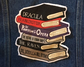 Horror Classics book stack large patch Dracula Frankenstein Phantom of the Opera Edgar Allan Poe