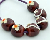 Lampwork Glass Bead Set, Chocolate Beads, Set of 6 from Izzybeads SRA UK