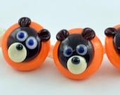 Glass buttons - Bear buttons - lampwork glass bear buttons  - lampwork glass sculpture bead -  from Izzybeads SRA UK
