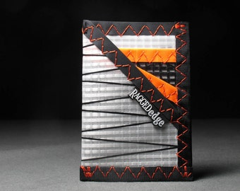 Card Sleeve ID Card Wallet - Sailcloth - White X and Neon Orange - Durable