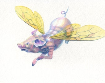 Original painting: 'Archibald' - A flying pig!