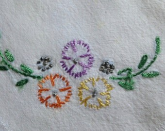 Four Hand Embroidered Beverage Napkins