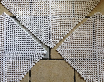 Three Piece Square Crocheted Chair Set