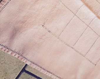 Pink Pulled Thread Table Runner or Dresser Scarf