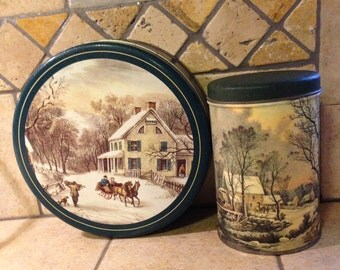 2 Currier and Ives Winter Scene Tin Boxes
