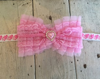 RUFFLED PINK BOW with Heart Rhinestone Headband on  Heart Elastic-free shipping with the purchase of another item