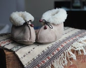 Sheep Skin Home Toddler Baby Slippers Boots Moccasin Kid's Brown Greige Light Warm Soft Handcrafted
