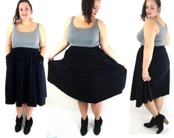 vintage 80s black corduroy full gathered skirt / pockets / l /xl