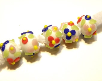 Five (5) White and Multicolor Floral Rondelle Lampwork Beads --- Lot UU