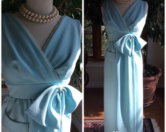Vintage 1970 blue stretch gown pearl accent