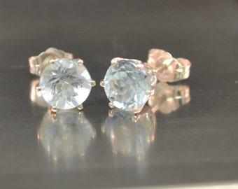 Blue Topaz Earrings Stud Earrings Blue Topaz Studs Sterling Silver December Birthstone Ready To Ship